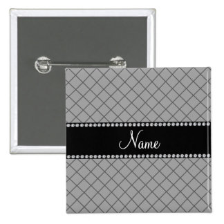 Personalized name grey grid pattern 15 cm square badge