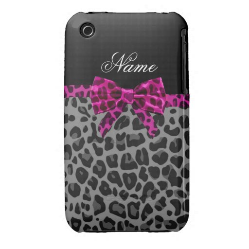 Personalized name grey leopard print pink bow iPhone 3 case