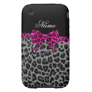 Personalized name grey leopard print pink bow iPhone 3 tough case