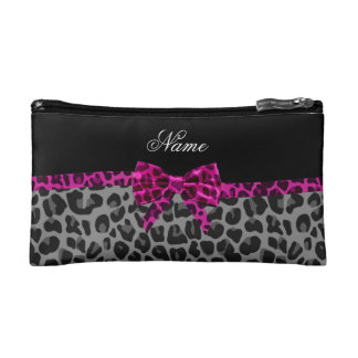 Personalized name grey leopard print pink bow makeup bag