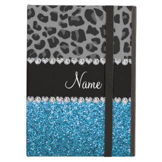 Personalized name grey leopard sky blue glitter cover for iPad air