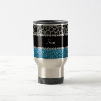 Personalized name grey leopard sky blue glitter mug