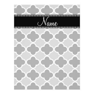 Personalized name grey quatrefoil pattern flyers