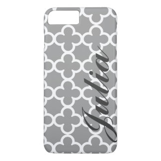 Personalized Name Grey Quatrefoil Pattern iPhone 8 Plus/7 Plus Case