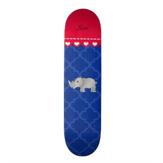 Personalized name grey rhino blue moroccan skate decks