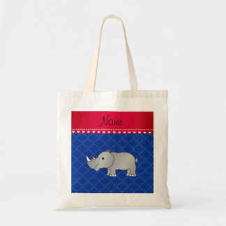 Personalized name grey rhino blue moroccan tote bag