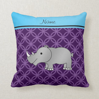 Personalized name grey rhino purple circles cushion