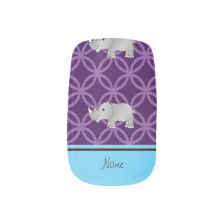 Personalized name grey rhino purple circles minx nail art