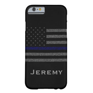 Personalized Name Grunge Thin Blue Line Flag Barely There iPhone 6 Case