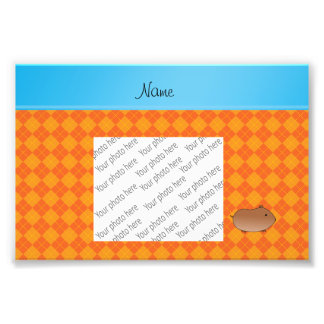 Personalized name hamster orange argyle photo