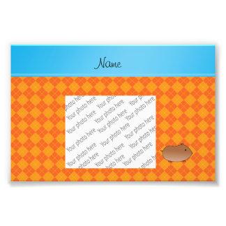 Personalized name hamster orange argyle photo print
