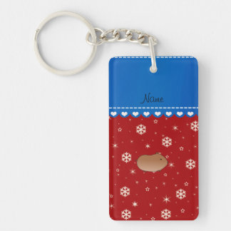 Personalized name hamster red stars snowflakes key chains