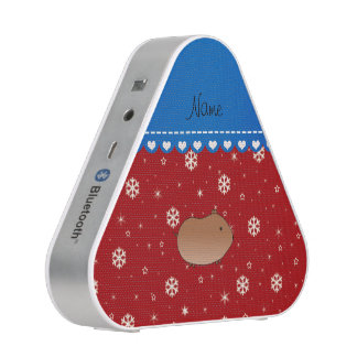 Personalized name hamster red stars snowflakes bluetooth speaker