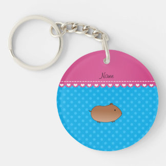 Personalized name hamster sky blue polka dots Double-Sided round acrylic key ring