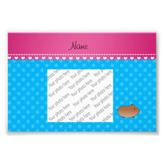 Personalized name hamster sky blue polka dots photo print