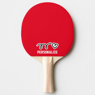 Personalized name heart design ping pong paddle
