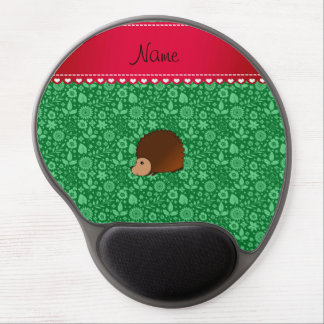 Personalized name hedgehog green flowers gel mouse pads