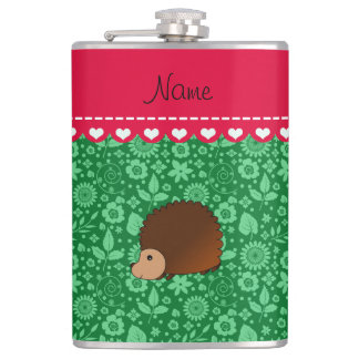 Personalized name hedgehog green flowers hip flask