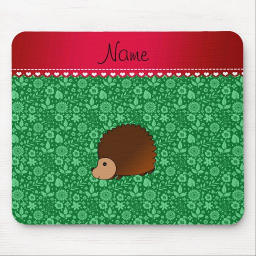 Personalized name hedgehog green flowers mouse pads