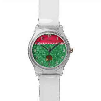 Personalized name hedgehog green flowers watch
