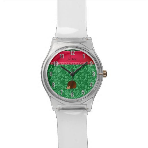 Personalized name hedgehog green flowers wrist watch