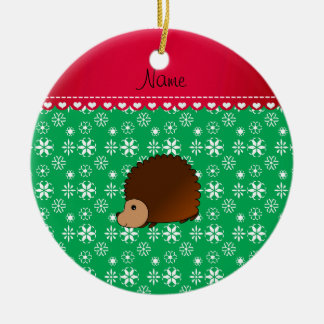 Personalized name hedgehog green snowflakes christmas ornament
