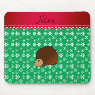 Personalized name hedgehog green snowflakes mouse pads