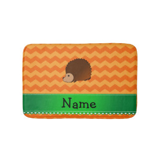 Personalized name hedgehog orange chevrons bath mat