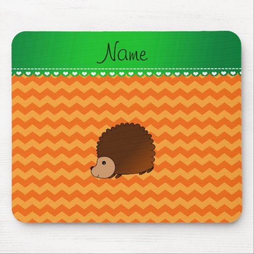 Personalized name hedgehog orange chevrons mousepad