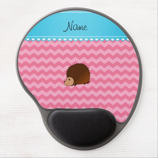 Personalized name hedgehog pink chevrons gel mousepad