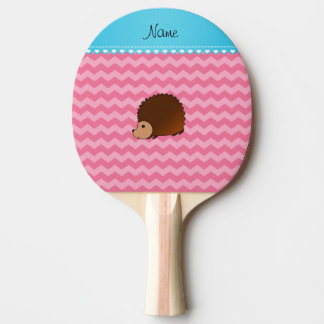 Personalized name hedgehog pink chevrons ping pong paddle