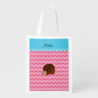 Personalized name hedgehog pink chevrons reusable grocery bag
