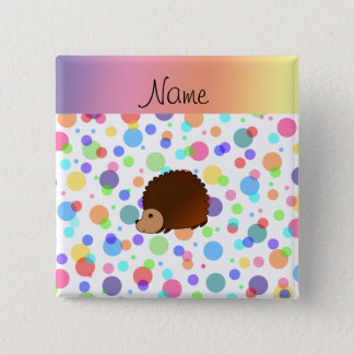 Personalized name hedgehog rainbow polkadots 15 cm square badge