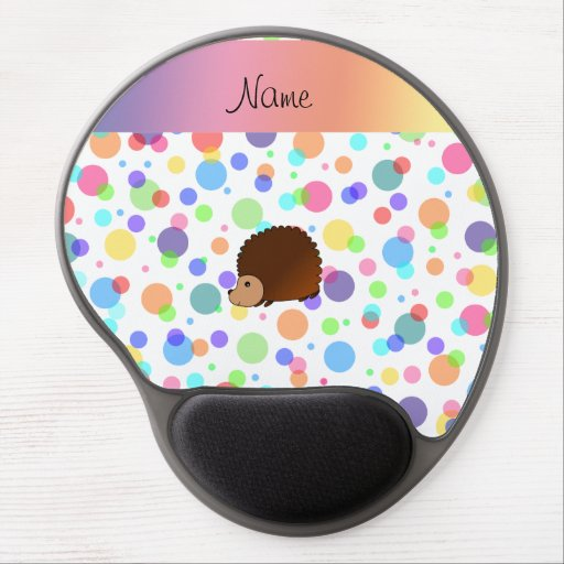 Personalized name hedgehog rainbow polkadots gel mouse pad