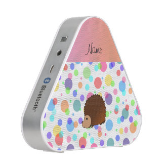 Personalized name hedgehog rainbow polkadots