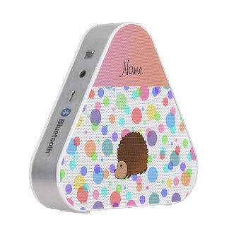 Personalized name hedgehog rainbow polkadots bluetooth speaker