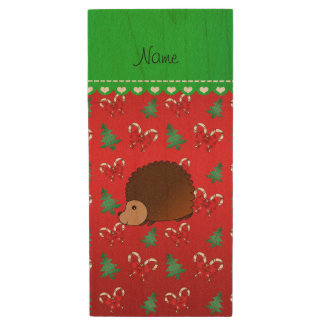 Personalized name hedgehog red candy canes bows wood USB 2.0 flash drive