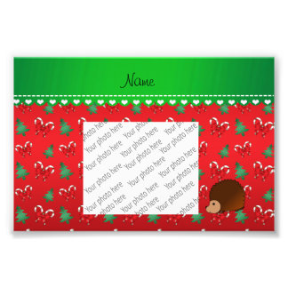 Personalized name hedgehog red candy canes bows photographic print