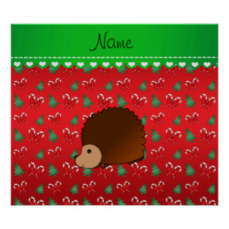 Personalized name hedgehog red candy canes bows print