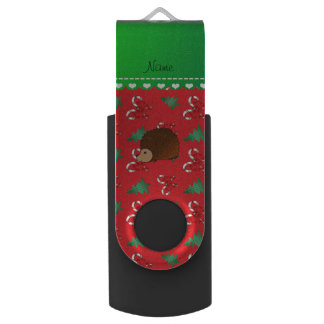 Personalized name hedgehog red candy canes bows swivel USB 2.0 flash drive