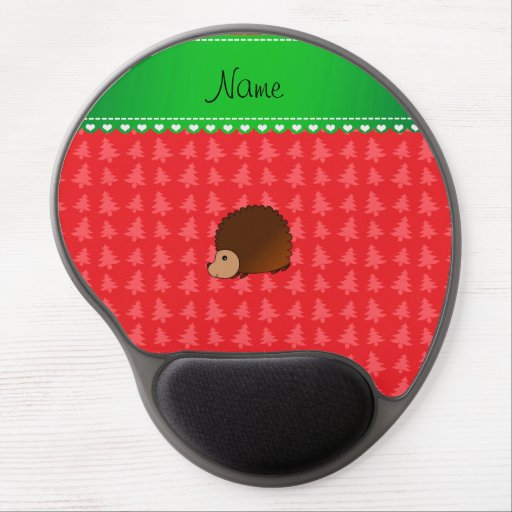 Personalized name hedgehog red Christmas trees Gel Mouse Pads