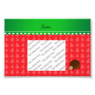 Personalized name hedgehog red Christmas trees Photo Art
