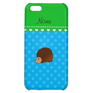 Personalized name hedgehog sky blue polka dots case for iPhone 5C