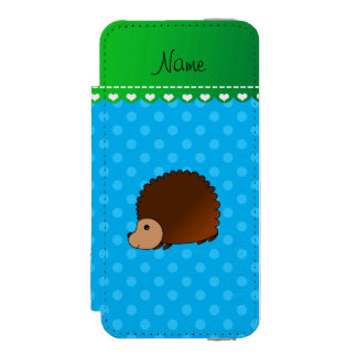 Personalized name hedgehog sky blue polka dots incipio watson™ iPhone 5 wallet case