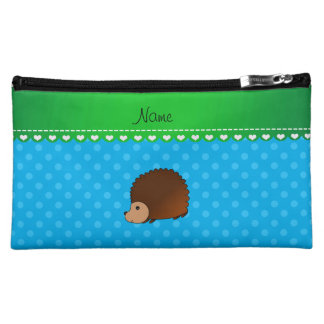 Personalized name hedgehog sky blue polka dots makeup bags