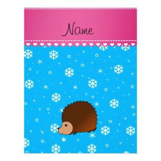 Personalized name hedgehog sky blue snowflakes 21.5 cm x 28 cm flyer