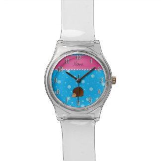 Personalized name hedgehog sky blue snowflakes wristwatch