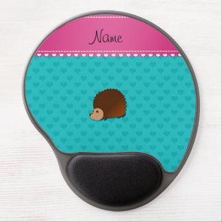 Personalized name hedgehog turquoise hearts gel mouse pad