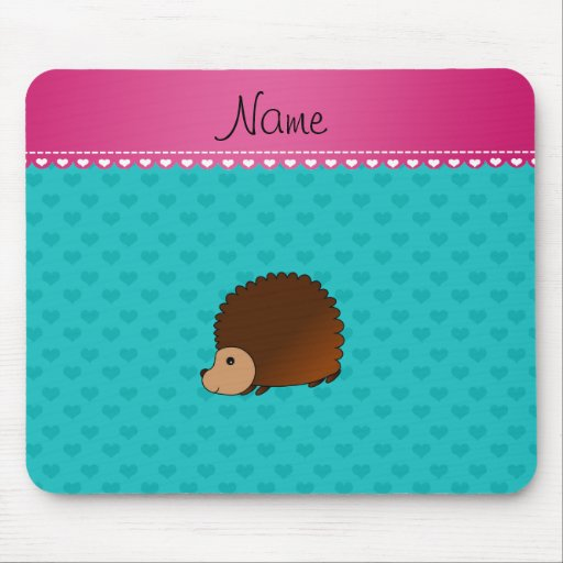 Personalized name hedgehog turquoise hearts mousepad