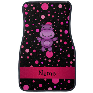 Personalized name hippo black pink polka dots car mat